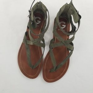 Guess Women's Sandals Flat Gray Leather/Suede 7.5